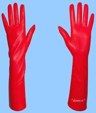 NEW size 8 SILK LINED LONG RED GENUINE LAMBSKIN LEATHER GLOVES