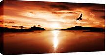 LARGE BRONZE LANDSCAPE LAKE SCENIC CANVAS PICTURE 40x20