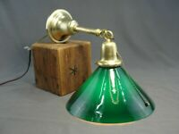 Antique Brass Ceiling Light Lamp Chandelier Deep Green Cased Glass Shade Rewired