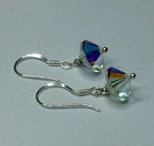 earrings,Vintage 1950s Aurora Borealis Crystal  -  new 925 Solid Sterling Silver