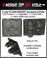 4way 12V Accessory Plate Flush mount 1x VOLT 1x Cigarette 1x USB 1x Merit socket
