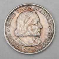 USA Chicago Exposition 1893 silver Columbus Half Dollar 1st US commemorative; AU