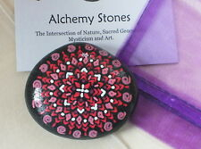 Hand Painted Alchemy Stone with Red, Pink & White Mandala Design