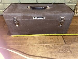 """Stack-On Mechanics 20""""  Charcoal Gray Toolbox Chest Tool Storage Box Tray Metal"""