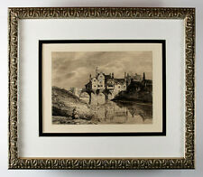 "Attractive Thomas HEARNE 1800s Etching ""Elvet Bridge, Durham"" SIGNED Framed COA"