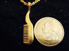 bling gold plated cosmetology Beautician salon comb charm chain hip hop necklace