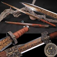 High Quality Chinese Sword Longquan Sword Red Pattern Steel Sharp Blade Handmade