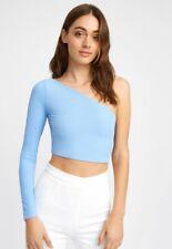 Kookai Long Sleeve One Shoulder Crop Top Dusty Blue Size 2/10