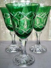 Three Bohemian Green Cut-To-Clear Crystal Goblets