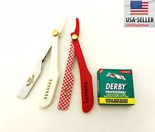 Cut Throat Shavette Straight Barber Shaving Razors 2 Pcs + 100 Derby Blades