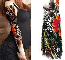 BRACCIO COMPLETO Tatuaggio Pesce Carpa ADESIVI TEMPORANEO BODY ART 3d Tatuaggi IMPERMEABILE
