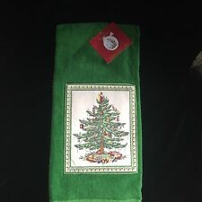 SPODE CHRISTMAS TREE TEA TOWEL and 2 KITCHEN TOWELS GREEN HOLIDAY TREES Cotton