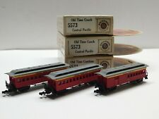N Scale - Set of (3) Central Pacific Old Time Coach Passenger Train Cars