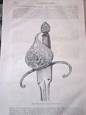Dague Italienne du 16ème siècle 1878 Gravure Article de presse