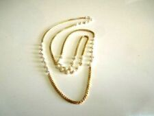 """South Indian Style Gold Plated White Fancy Pearl Fashion Necklace Chain 20""""Long"""