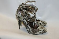 Ladies Gold Animal Print Stilletto Shoes Size 6 Mary Janes by Fiore