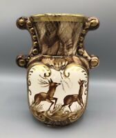 Vintage 1960 Favience Ceramic Castel Belgium Bequet Pottery Vase with Deer
