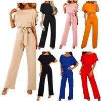 Women Casual Office Party Evening Long Pants Playsuit Ladies Wide Leg Jumpsuit