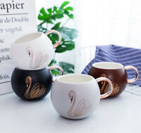 Swan graphic Round Ceramic Water Milk Coffee Mug Cartoon Cute present Cup gift