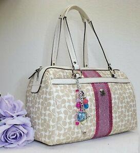 Coach CUSTOM chelsea heritage 15132 stripe barrel satchel purse handbag glitter