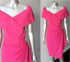 Retro Vintage 80s Off Shoulder Wrap Pink Plunging V Cocktail Party Dress Sz M