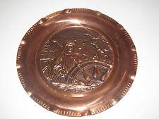 Assiette Ancienne en Cuivre Gravure Vieux Marin Ø 31 cm 480 g
