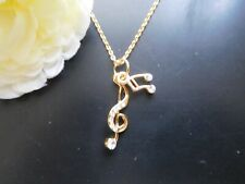 NEW Music Notes Necklace Pendant  Women Gold Tone  USA US Seller Stock Kids