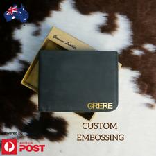 Personalised Gift Genuine RFID Leather Black Wallet Custom Monogram AU Stock