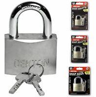 Dekton Satin Nickel Security Padlock Steel Shackle 3 Keys 30, 40 Or 50mm Lock