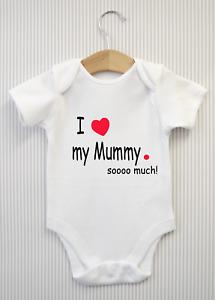 Personalised I Love My Mummy So Much Baby Grow Babygrow Bodysuit Vest Mum Gift