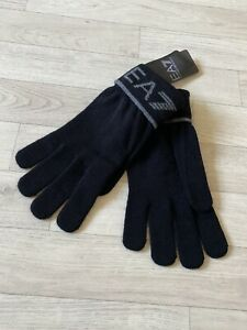 Armani Gloves EA7 Winter Gloves Emporio Armani Black Knitted Mitts NEW