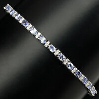 Unheated Oval 4x3mm Top Blue Violet Tanzanite W Cz 925 Sterling Silver Bracelet