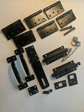 VINTAGE Double BARN DOOR HARDWARE set, with HINGES, Latches LOCKING slide PINS