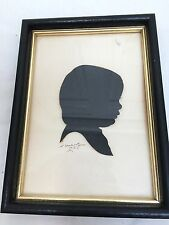 1921 dtd Hand Cut Silhouette Signed K. Horlary? Child or Baby Profile Framed