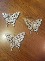 Beautiful Vintage Trio of Gold Glitter Butterfly Christmas Ornaments Set Of 3