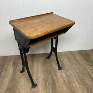 Antique Child's School Desk Adjustable height Iron Leg Solid Wood Top Vintage