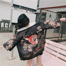 Women Japanese Kimono Coats Chiffon Cardigan Harajuku Yukata Casual Outwear Tops