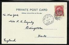 1902 Quebec City duplex AU 11, ties a 2c numeral.  Postcard of Quebec to England