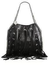 STELLA MCCARTNEY Black Faux Leather Fringe Falabella Bag $1500 NWT 100% AUTHEN
