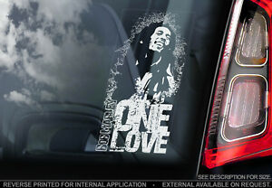 Bob Marley - Car Window Sticker - One Love - Reggae Ska Music Sign Decal Wailers