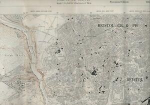 OS Map rev 1955 (roads rev 1967) Bristol Houses Buildings  Clifton     E2.658