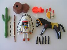 PLAYMOBIL VINTAGE WESTERN OESTE    JEFE INDIO   REF 3876  AÑO 1993 COMPLETO