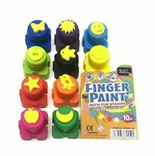 KIDS FINGER PAINT AND STAMPS. FUN NON TOXIC WASHABLE PAINTS. 10 DIFFERENT SHAPES