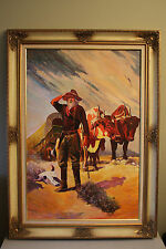 """Western Themed Vintage Oil Painting on Canvas Framed and Titled """"The Prospector"""""""