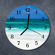 Glass Wall Clock Kitchen Clocks 30 cm round silent Beach Sea Blue