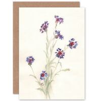 Flower Cornflowers Watercolour Card With Envelope