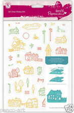 A5 Papermania 40 set clear stamps VILLAGE. Church cloud trees street signs bike