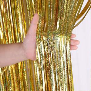1m Width x 2/3m Drop Background Wall Laser Fringe Curtain Birthday Party Decorat