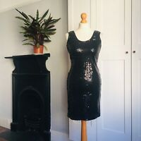 Vintage 90s Black Tight Stretchy Sparkly Sequin Party Clubbing Mini Dress 10
