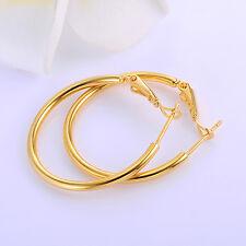 Womens 24K Yellow Gold Plated Big Hoop Earrings Circle Leverback Earings
